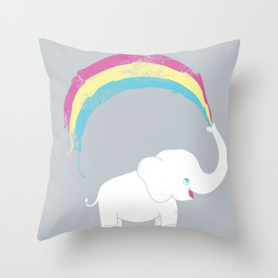 Elephant Painting! Throw Pillow