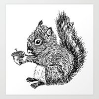 Squirrel In Black & Whit… Art Print