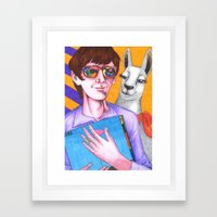 Stylish Llama Approves Of Your Music Taste Framed Art Print