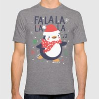 Fa la la penguin Mens Fitted Tee Tri-Grey SMALL