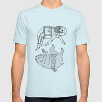 On the bear's uncontrollable urge to toss his master in the air Mens Fitted Tee Light Blue SMALL
