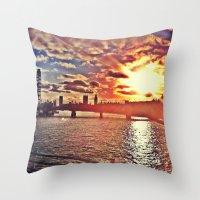 Sunset Over London Throw Pillow