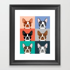 Boston Terriers Tile Pat… Framed Art Print