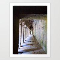 Temple Corridor Angkor Wat Cambodia Art Print