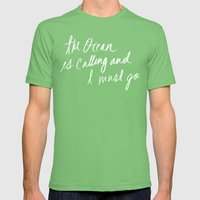 The Ocean is Calling by Laura Ruth and Leah Flores Mens Fitted Tee Grass SMALL