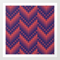 Pixelated Chevron Art Print