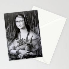 Mona Lisa in the forest Stationery Cards