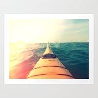 Yellow Kayak In Water Co… Art Print