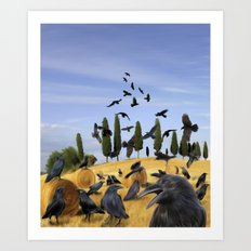Crows in Tuscany Art Print
