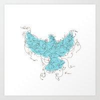 Bird Fly 3 - Aqua/Brown Art Print