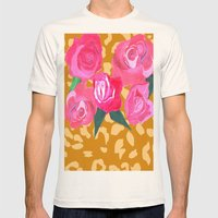 Floral and Tiger Print Mens Fitted Tee Natural SMALL