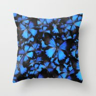 Blue And Black Butterfli… Throw Pillow