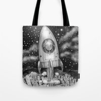 Running Away From Home In A Rocket Ship Tote Bag