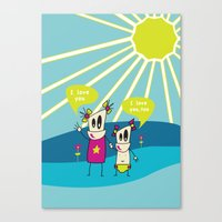 Robot Sisters Blue - A Family Affair Canvas Print