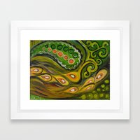 green paisley fish Framed Art Print