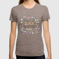 Sugar and Spice Womens Fitted Tee Tri-Coffee SMALL