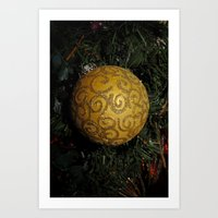 Sparkling Gold Swirls Art Print