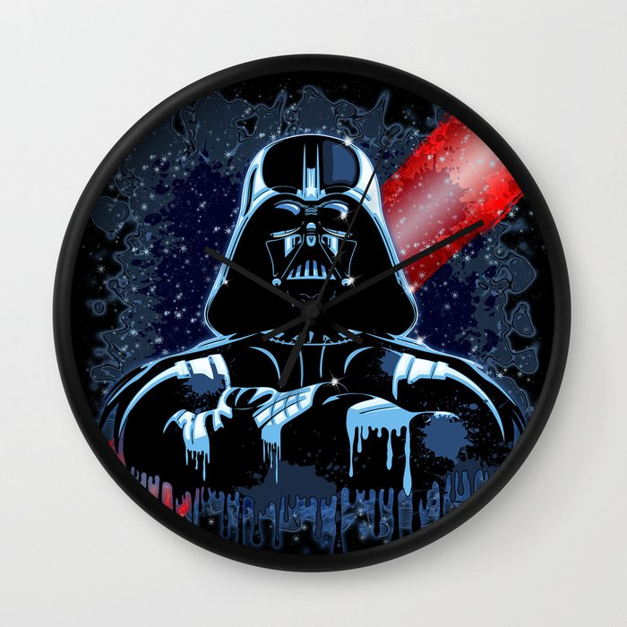 Darth Vader Mask On Dark Paint Stains Wall Clock By Bluedarkart Society6