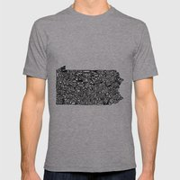 Typographic Pennsylvania Mens Fitted Tee Athletic Grey SMALL