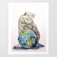 In which our feline deity shows restraint  Art Print