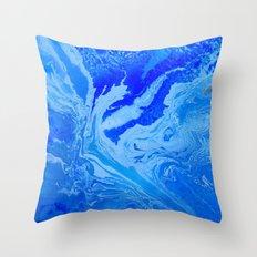Fluid Blue Throw Pillow