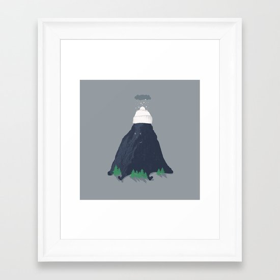 lil snow-capped mountain Framed Art Print