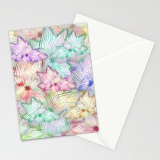Whimsical Girly Pastel Watercolor Flowers Pattern Stationery Cards