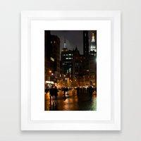 Rainy Night In Union Square Framed Art Print