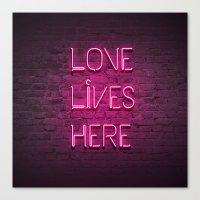 Love Lives Here (Magenta… Canvas Print