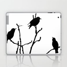 Black Birds on White Laptop & iPad Skin