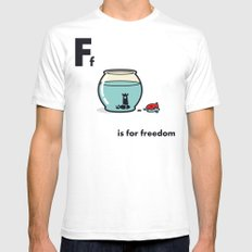 F is for freedom - the irony Mens Fitted Tee White SMALL