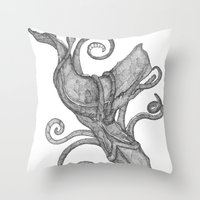 Whale Vs. Squid Throw Pillow