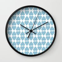 Diamond Hearts Repeat Blue Wall Clock