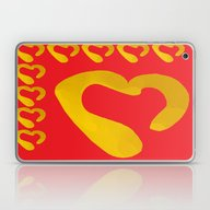 Gold Hearts On Red Laptop & iPad Skin