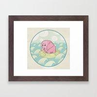Elephant Across the Sea Framed Art Print