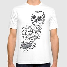 Music is Life Mens Fitted Tee SMALL White