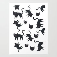 Playful Cats In Colourfu… Art Print