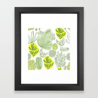 Succulent Pattern Framed Art Print