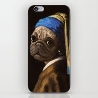 Pug With A Pearl Earring iPhone & iPod Skin