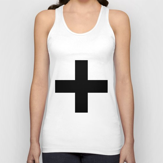 Black Plus on White /// www.pencilmeinstationery.com Unisex Tank Top