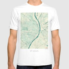 St. Louis Map Blue Vintage White Mens Fitted Tee SMALL