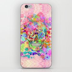 Girly Sugar Skull Pink Glitter Fine Art Paint iPhone & iPod Skin