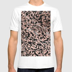 Trendy faux rose gold geometric black marble illustration pattern White SMALL Mens Fitted Tee