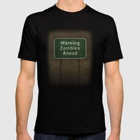 Warning Zombies Ahead Mens Fitted Tee Black SMALL