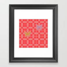 Red pink retro style squared pattern with hearts and butterflies Framed Art Print
