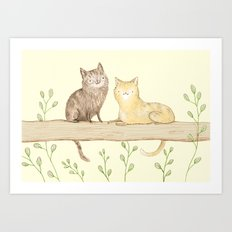 Cats On The Fence Art Print