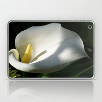White Calla Lilies Over Black Background In Soft Focus Laptop & iPad Skin