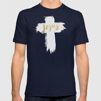 JESUS | EASTER | CROSS Mens Fitted Tee Navy SMALL