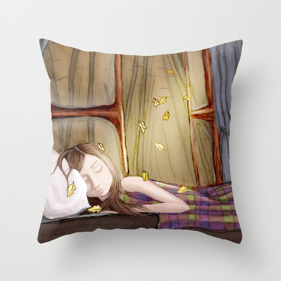 I wish it would rain autumn again Throw Pillow