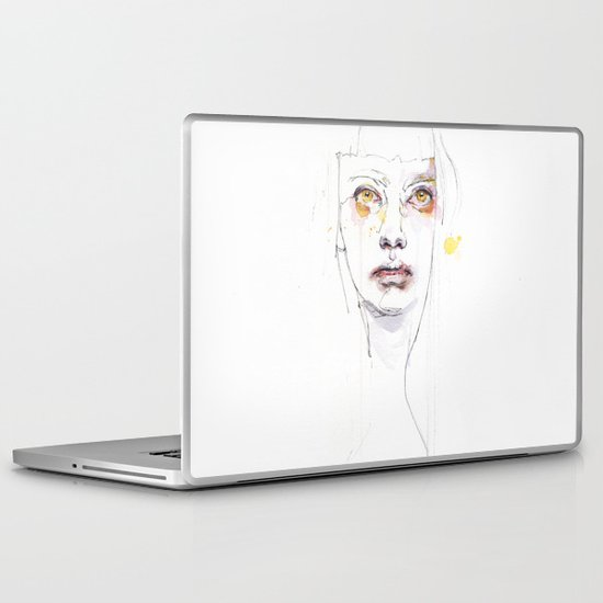 Golden eyes girl Laptop & iPad Skin